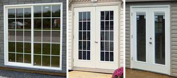 Pine Creek Structures options including fiberglass french and sliding doors