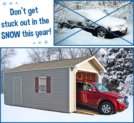 Protect your vehicle from snow this winter with a garage or shed from Pine Creek Structures